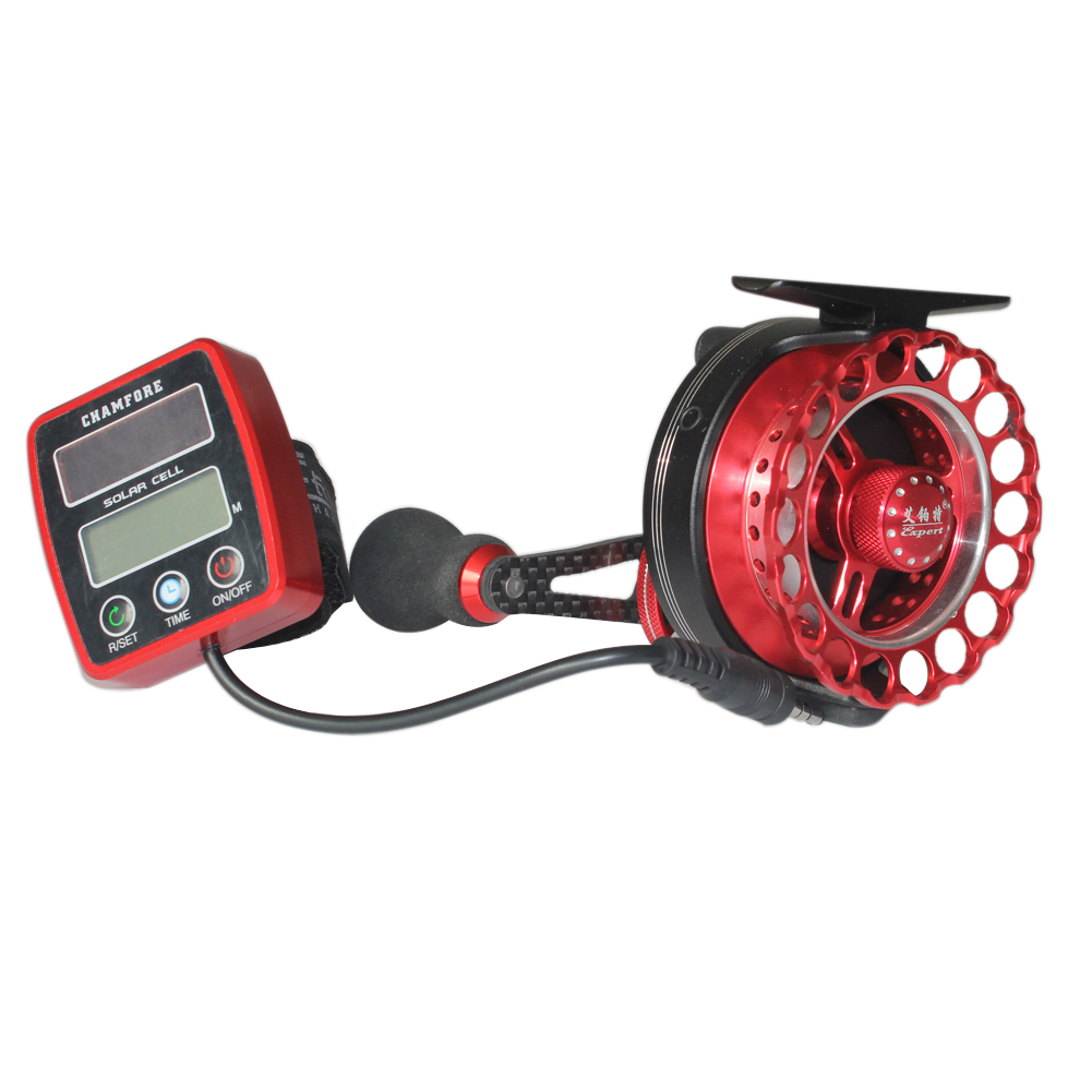 Solar power counting fish line wheel electric fishing reel for Digital fishing reel
