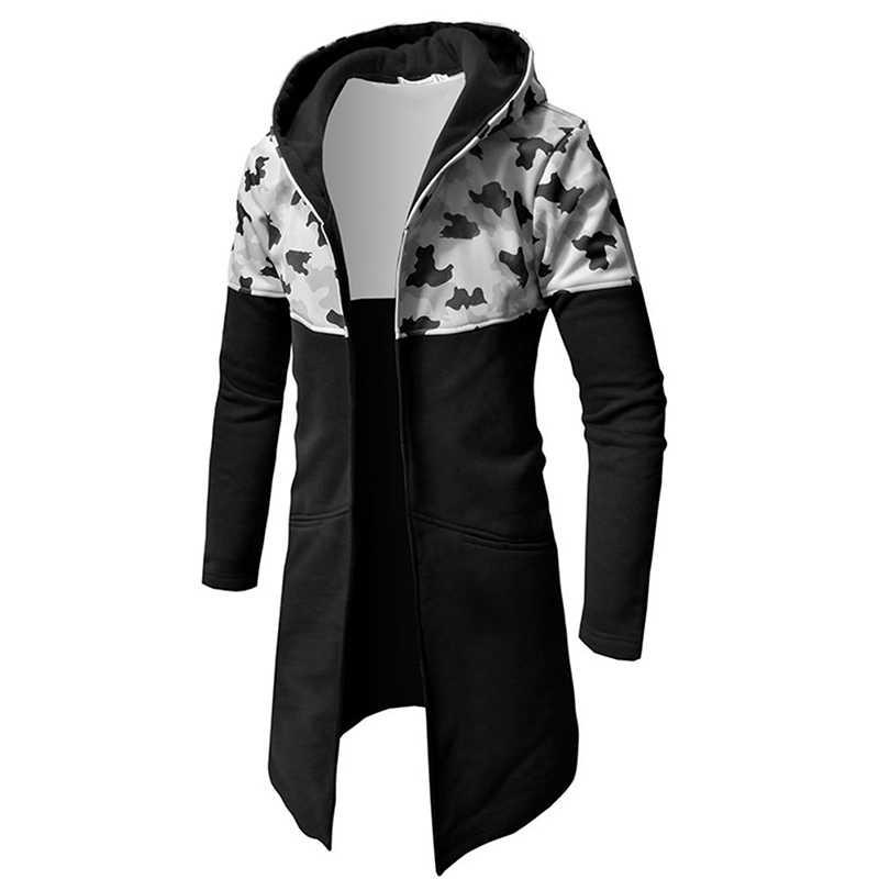 af4ef9819856 ... Huation 2019 hombres Hip Hop con capucha sudaderas con capucha  camuflaje Streetwear manto largo capa sudadera ...