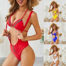Investment One Piece Womens Solid High Waist Bikini Zipper Solid Backless Swimsuit Push Up Padded Bra Swimwear Beachwear Bikini 2019 Mujer dispense