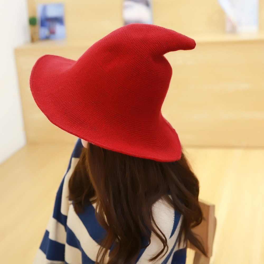 2018 Halloween Along the sheep wool cap knitting fisherman hat qiu dong  Female fashion witch pointed f53462ada81d