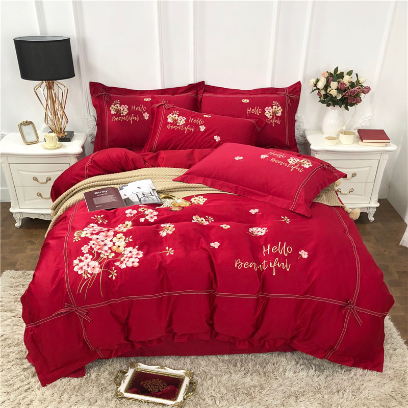 Red Luxury 60S Egyptian cotton Flowers Embroidery Bedding Set Duvet Cover Bed Sheet Bed Linen Pillowcases Queen King Size 4pcs Red Luxury 60S Egyptian cotton Flowers Embroidery Bedding Set Duvet Cover Bed Sheet Bed Linen Pillowcases Queen King Size 4pcs