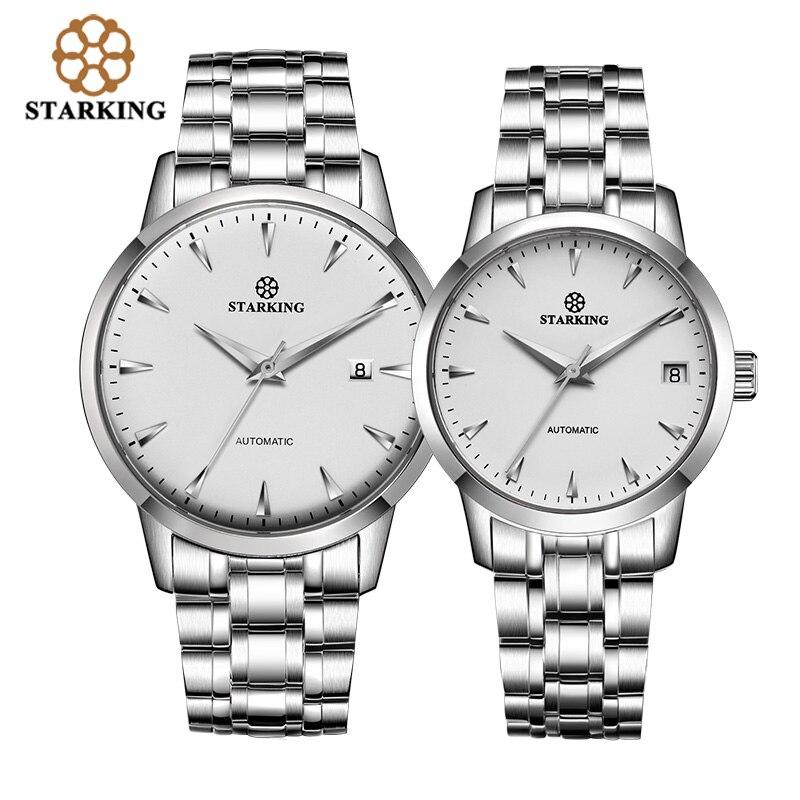 StarKing часы Модные фирменные полностью из нержавеющей стали унисекс наручные часы автоматические механические любовные часы подарки на день