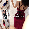 SPECIAL OFFER Free Shipping 2017 Spring New Elegance Cozy Solid Color Velvet Low Cut Sexy  Halter Pencil Dress Women