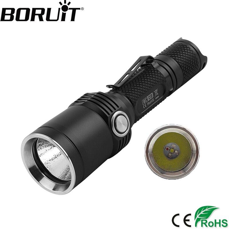BORUiT BC09 1200LM XP-L LED Tactique lampe de Poche USB Charge Torche 11-Mode Flash Lumière Extérieure Lanterne par 18650 Batterie