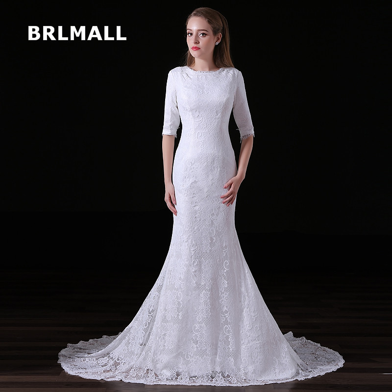 Simple Wedding Dress Divisoria: 2018 New Simple Wedding Dresses Exquisite Lace Half Sleeve