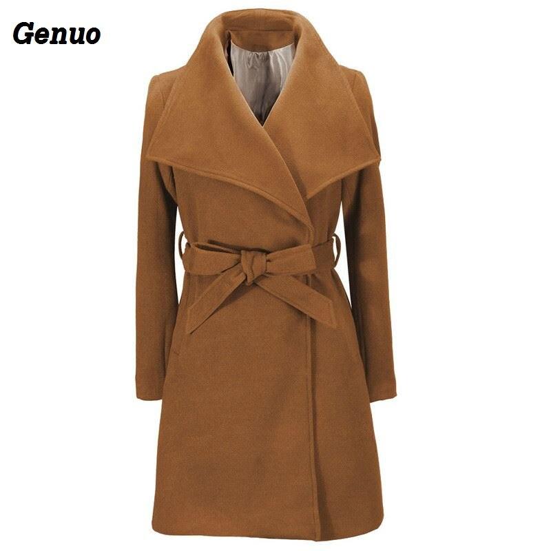 Elegant Wool Coat Winter Women Jacket Pocket Bow Tie Belt Coat Fashion Streetwear Solid Big Collar Slim Ladies Woolen Coat Genuo