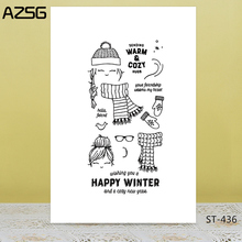AZSG Winter Scarf Gloves Lovely Girl Clear Stamps For DIY Scrapbooking/Card Making/Album Decorative Silicone Stamp Crafts