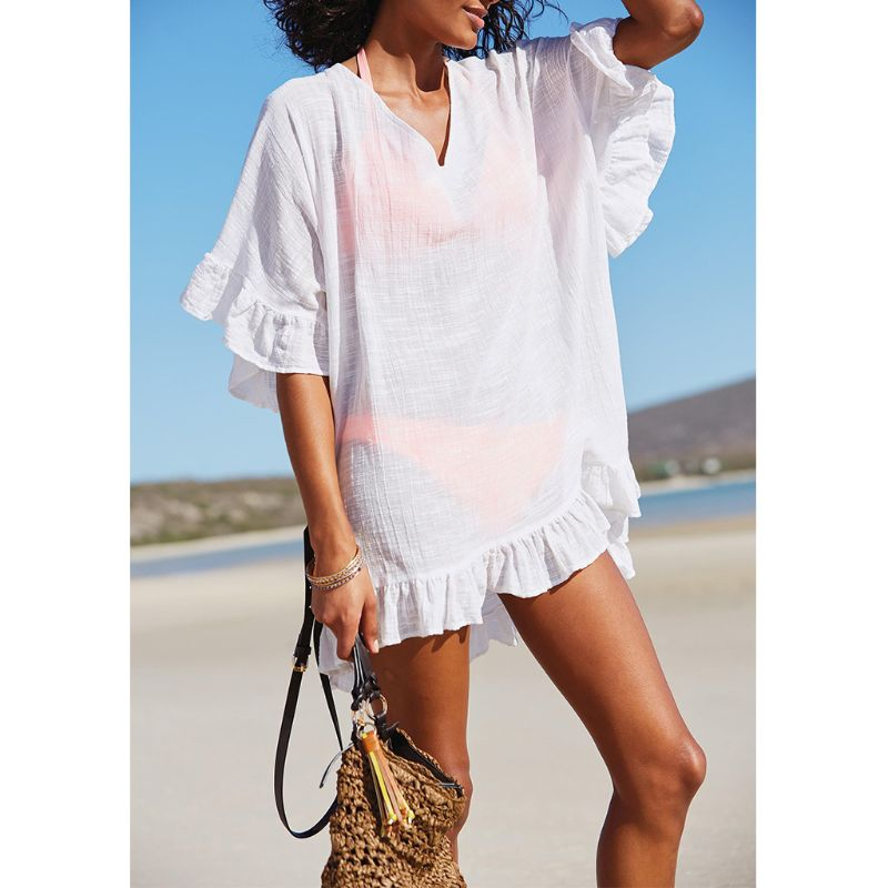 Womens Summer Slub Cotton Half Sleeves Mini Dress Solid Color Sexy Deep V-Neck Semi-Sheer Bikini Cover Up Ruffles Flounce Trim O