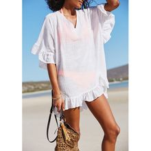 Womens Summer Slub Cotton Half Sleeves Mini Dress Solid Color Sexy Deep V-Neck Semi-Sheer Bikini Cover Up Ruffles Flounce Trim O layered flounce trim dress
