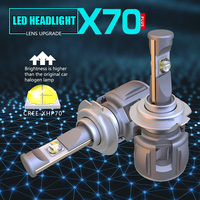 2018 New arrival all in one 1 set 15600lm 6000k LED auto headlight xhp70 P70 H7 H8 H9 H11 LED car headlight bulb with turbo fan