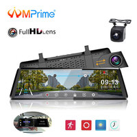 AMPrime 10 Car DVRS Camera Touch Screen Dashcam FHD 1080P Dual Lens Registrator Night Vision Video Recorder Rearview Mirror DVR