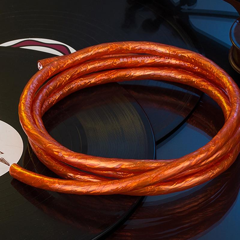 WinAqum Champaign Gold Copper Wire OFC Line HiFi Audio Speaker Cable For DIY H-311/325 1 Meter