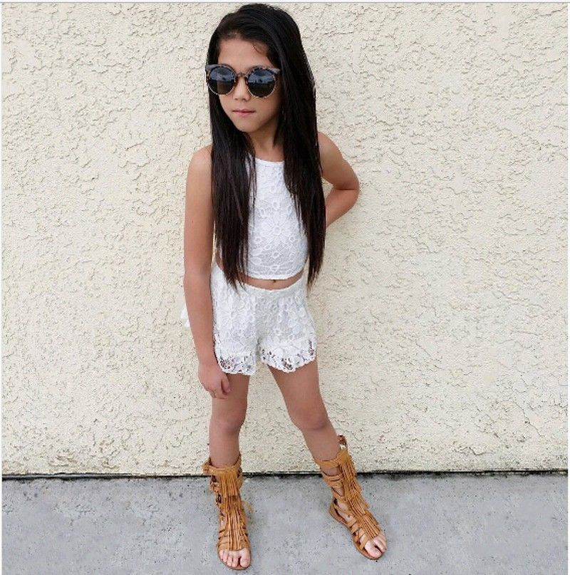 Toddler Baby Girls Clothes Kids Summer Floral Lace Sleeveless Tops Shirt Shorts Outfits Set girl Clothing  Шорты
