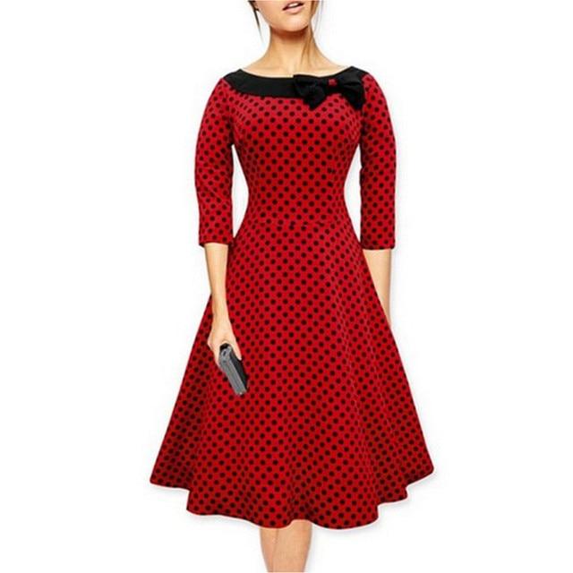Women Autum Elegant Polka Dot Dress Big Hem Female Midi Pleated Vintage  Dress Plus Size Party 3d79c4231d03