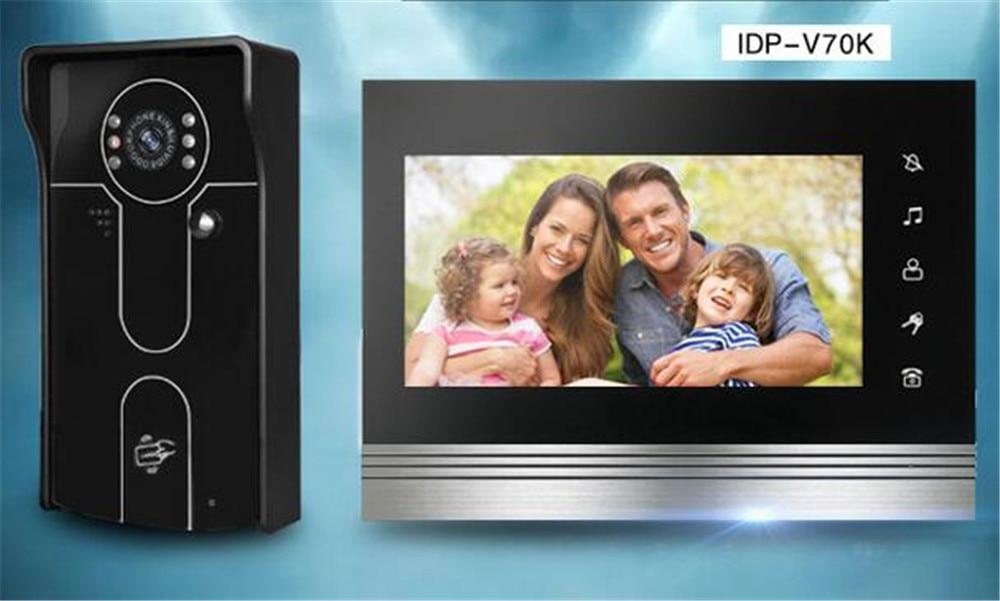 7 Inch ID Card Open Lock Wired Video Door Phone