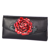 2018 Vintage Carving 3D Flower Female Long Wallet Hasp Genuine Leather Floral Wallet Card Holder For Women Top Qualilty Wallets