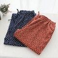 2017 otoño y primavera las mujeres bottoms sueño 100% algodón con corazones lindos pantalones del salón de franela plana de calidad superior para las mujeres