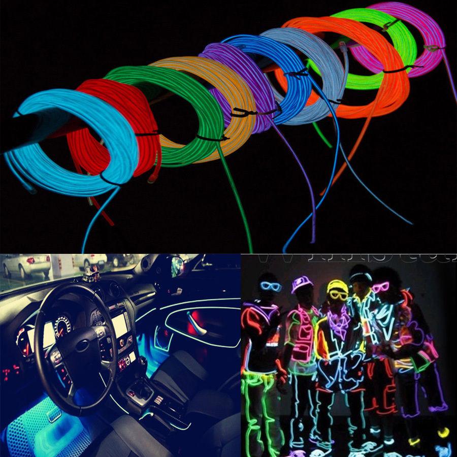 10 Pieces DIY Decoration Auto Car Interior LED EL Wire Rope Tube ...