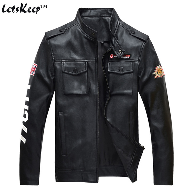 2016 LetsKeep Air force one PU Leather Jacket men New motorcycle punk jackets Coat mens Bomber pilot male-leather-jacket, MA240