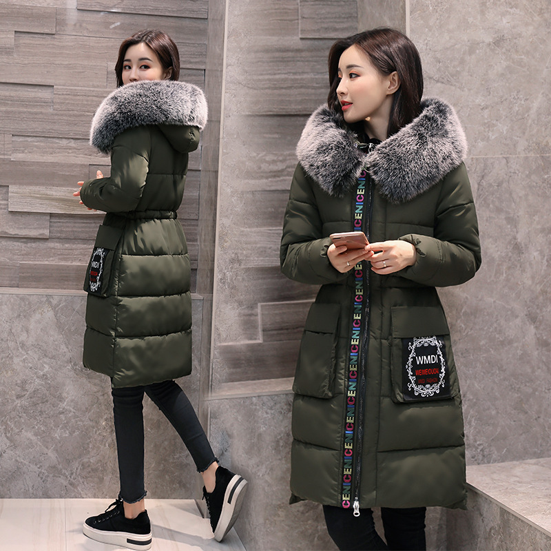 2018 new Female Winter Coat Hooded With Fur Collar Womens Winter Jackets Warm Thicken Outwear Women Coat Long Parka drop ship