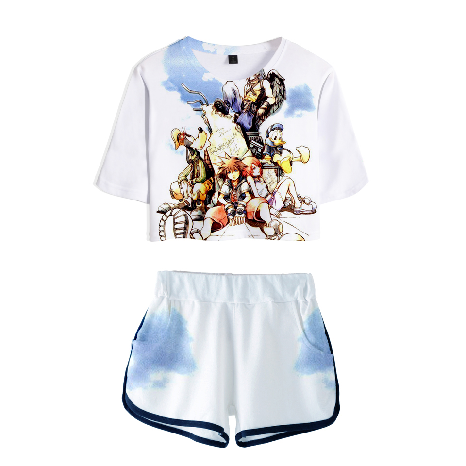 LUCKYFRIDAYF Crop Top kingdom hearts 3D Pop Summer Soft Shorts And T shirts Women Two Piece Sets Cool Print Clothes in Women 39 s Sets from Women 39 s Clothing