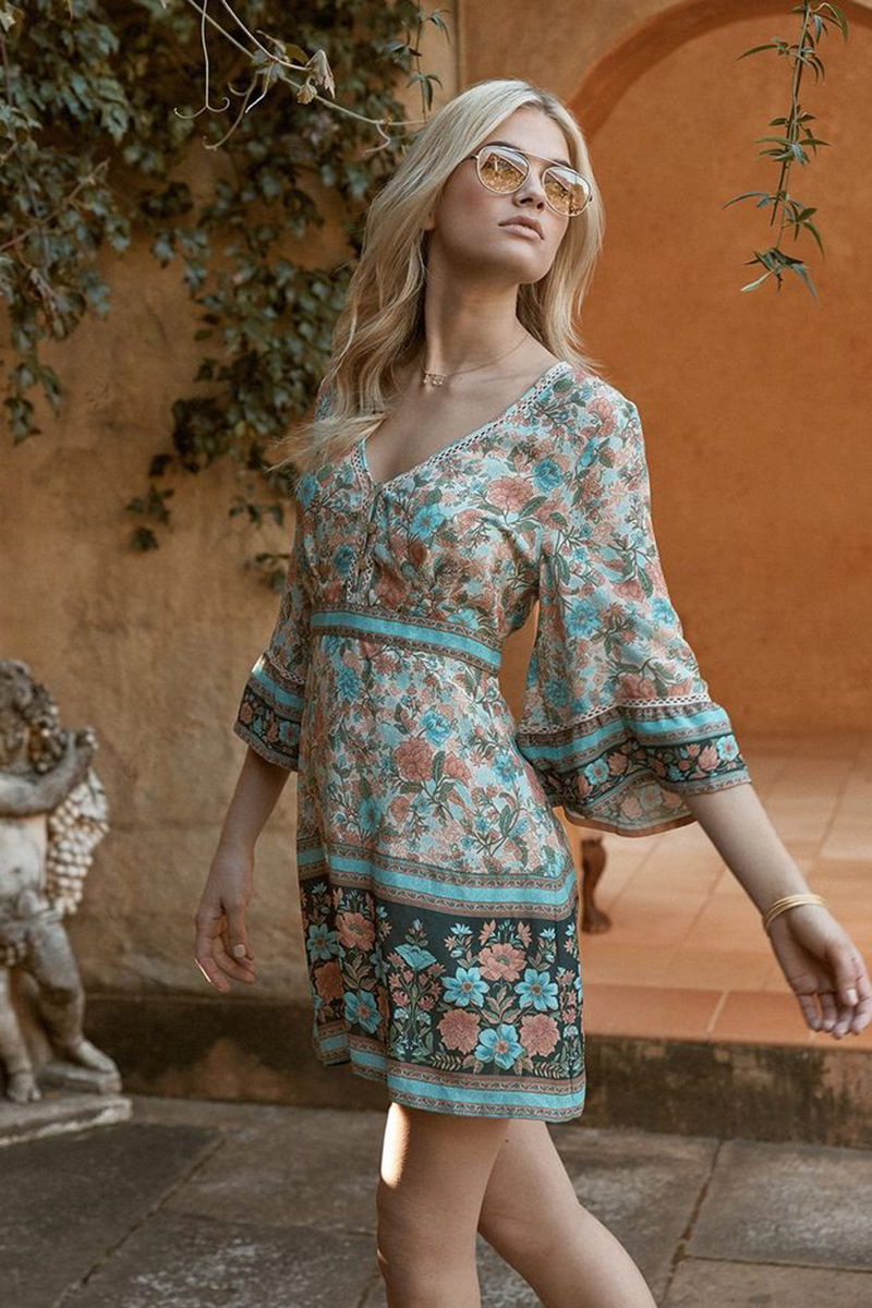 Flare Sleeve Bohemian Beach Dress