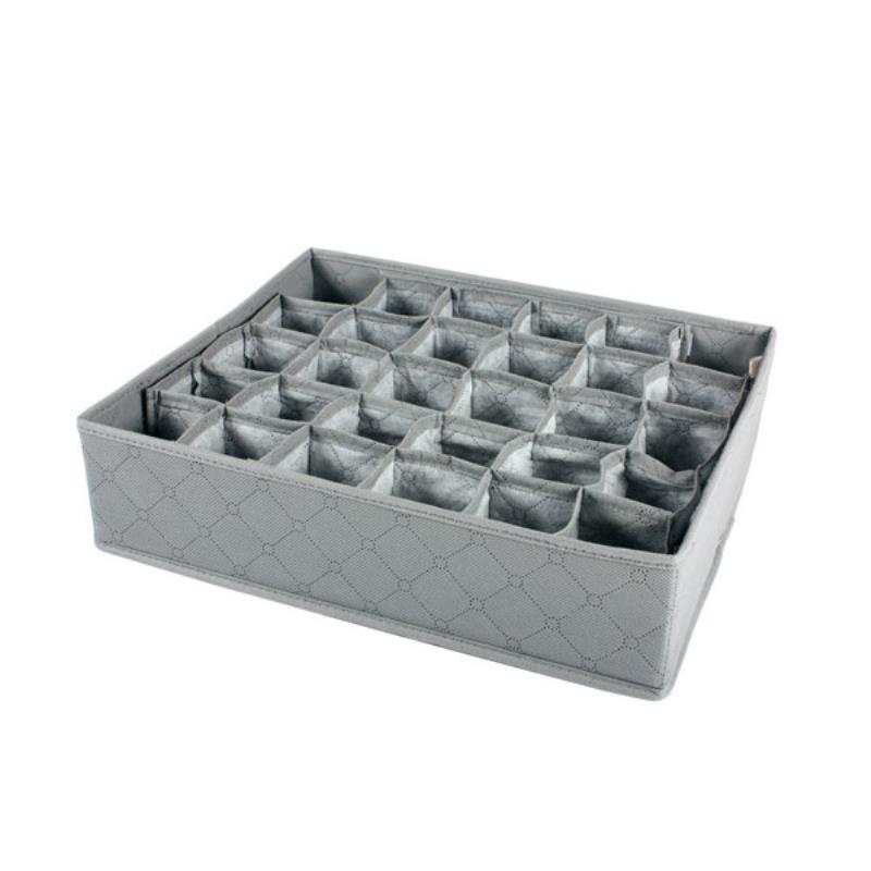 JX-LCLYL 30 Grids Foldable Bra Underwear Socks Ties Storage Box Organizer 32 x 34cm