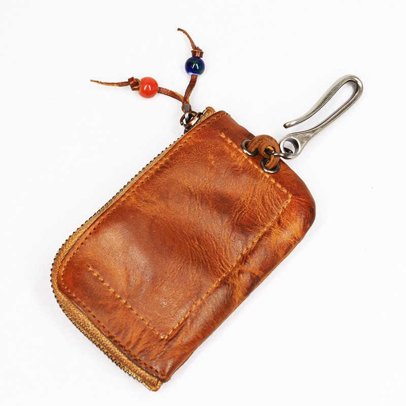 2019 Kulit Asli Dompet Kunci Pria Pria Pendek Vintage Buatan Tangan Ritsleting Kunci Mobil Pemegang Koin Dompet Kartu Case Organizer Pembantu Rumah Tangga
