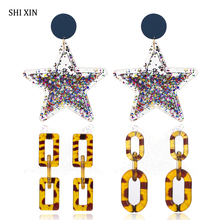 SHIXIN Acrylic Leopard Earrings 2019 Korean Fashion Long Big Star/Chain Drop For Women Statement Large Female Jewelry