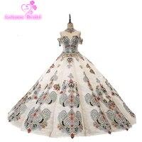 2018 Новое поступление Aolanes рукавов высокого бальное платье Кружева Контрастность Цвет Пышное Платье Vestido 15 сладкий 16 платье для девочек на де