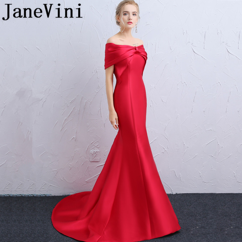 JaneVini 2018 Simple Mermaid Red Long   Bridesmaid     Dresses   Pleat Off the Shoulder Backless Sweep Train Satin Vestidos Elegantes