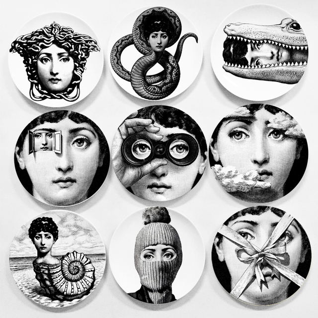 Vintage piero Fornasetti prints in plates Art plate Face SKULL Custom los platos for art bedroom  sc 1 st  AliExpress.com : decorative face plates - pezcame.com