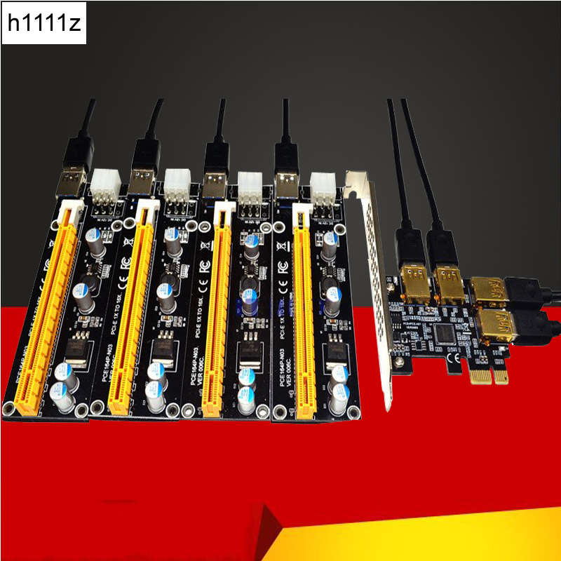 NEW add in card PCIe 1 to 4 PCI express 16X slots Riser Card PCI-E 1X to 4 PCI-e slot Adapter USB 3.0 Port Multiplier for Mining sj4000 kit accessories sj4000 set accessories sj4000 bundle accessories hot sale