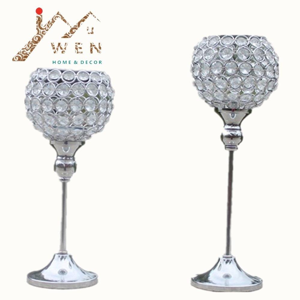 2pcs metal placat cu argint placată lumânare cu cristal nunta - Decoratiune interioara