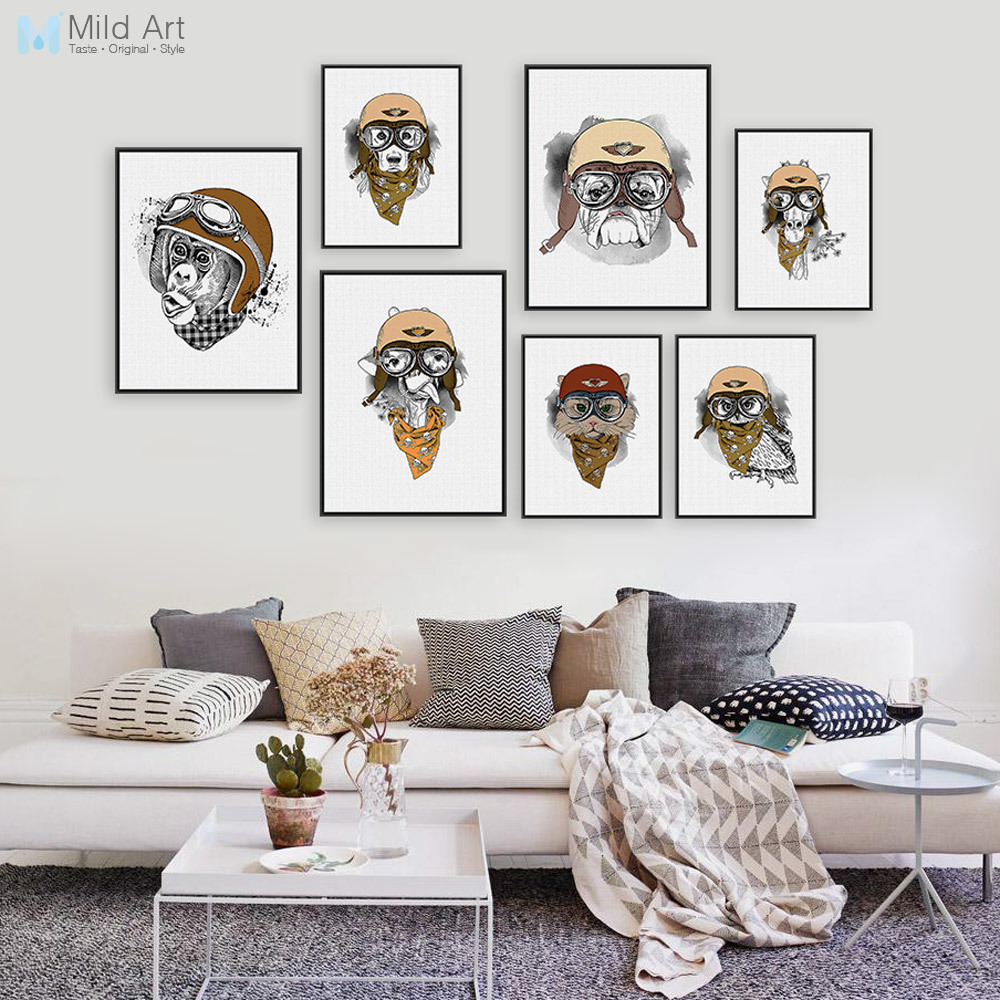 Vintage Retro <font><b>Hippie</b></font> Animal Head Giraffe Owl Helmet Art Print Poster Wall Pictures Canvas Painting No Framed <font><b>Home</b></font> Boy Room <font><b>Decor</b></font>
