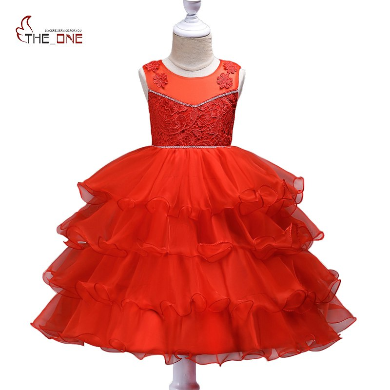 MUABABY Big Girl Princess Party Dress Kids Girls Flower Layered Wedding Pageant Bow Dresses Children Tutu Ball Gown 3-15T