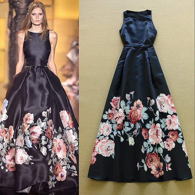 fd3d276be2 US $67.88 |New Fashion 2017 Designer Runway Maxi Dress Women's Sleeveless  Noble Floral Flower Printed Celebrity Party Long Dress-in Dresses from ...