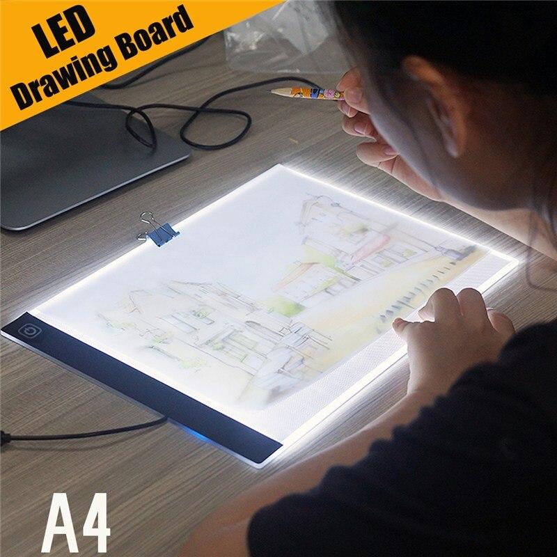 Ultra Sottile A4 HA CONDOTTO LA Luce Pad Artista Del Tatuaggio Stencil Bordo Light Box Da Tavolo Tracing Tavolo da disegno Pad Copia Pittura Disegno bordo