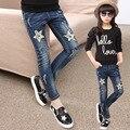 Детская одежда больших Девочек джинсы брюки весна-подросток осень pentagram стрейч джинсы ребенок модные связанными ногами брюки