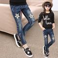 Roupas grandes Meninas das crianças calças de brim calças de primavera adolescente outono pentagrama jeans stretch criança moda calças pés atados