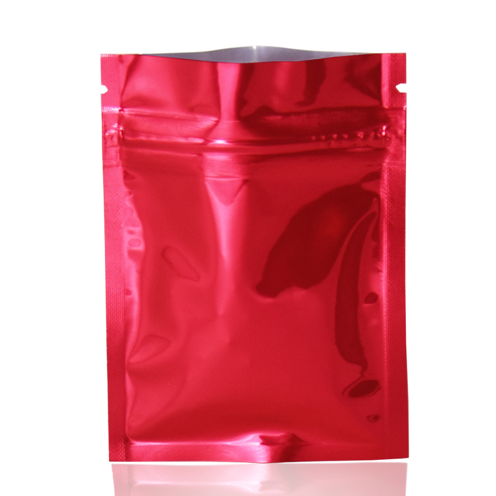 100pcs/lot Glossy Red Reclosable Aluminum Foil Zip Lock Package Bag Grip Seal Pack Mylar Vacuum Food Storage Pouch