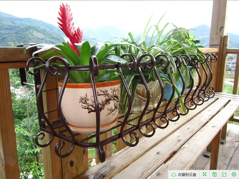 iron hanging flower outdoor balcony railing flower pots hanging rack succulents shelving racks. Black Bedroom Furniture Sets. Home Design Ideas