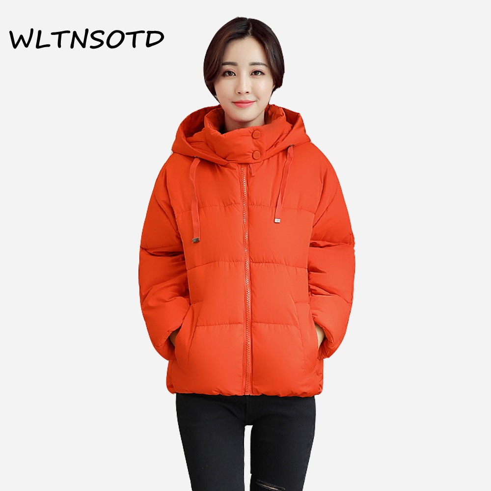2017 Sale Full Zipper Slim New Winter Cotton Coat Women Loose Casual Hooded Bat Sleeves Jacket Female Fashion Warm Solid Parkas