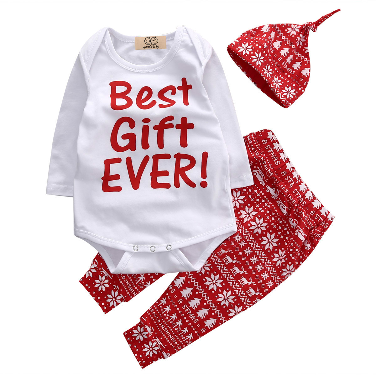 Newborn Baby Boy Girls Hot Sale Christmas Long Sleeve Bodysuit Tops +Long Print Pants Hat Brief Casual 3PCS Outfits Set Clothes
