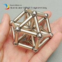 1 Set Toy Set NdFeB Magnet Rod And Steel Balls Silver Gold Neodymium Magnetic Cylinder Construction