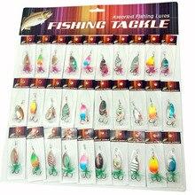 OLOEY 30PCS richiamo di pesca artificiale di metallo cucchiaio silicone wobbler esche filatore di pesca profonda carp bait diving wobbler pesce persico