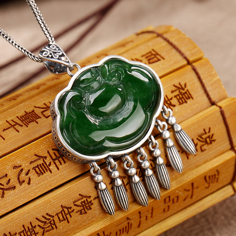 2018 Real New Jasper S925 Pure Restoring Ancient Ways Ms Hetian Inlay Tassel For High-grade Sweater Wholesale Chain Pendant цена 2017
