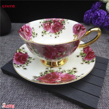 1 set Creative Hand-drawn Flowers Coffee Cup European Ceramic Milk 200ml High-grade With Plate 7ZDZ482