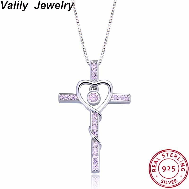 Valily Hot 925 pendentif croix en argent Sterling collier rose/bleu cristaux Collares de coeur pour les femmes hommes Mujer accessoires bijoux