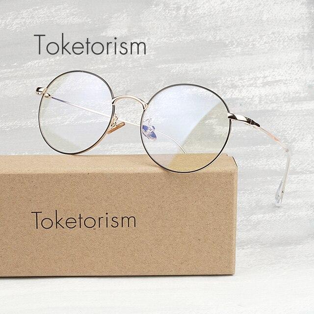 Toketorism Anti-blue rays glasses round metal frames for women men ultralight retro optical glasses frame